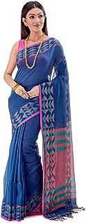 SareesofBengal Women's Khadi Cotton Jamdani Dhakai Saree Tangail Handloom Blue