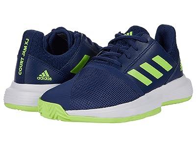 adidas Kids CourtJam X Tennis (Little Kid/Big Kid) (Tech Indigo/Signal Green/Footwear White) Kids Shoes