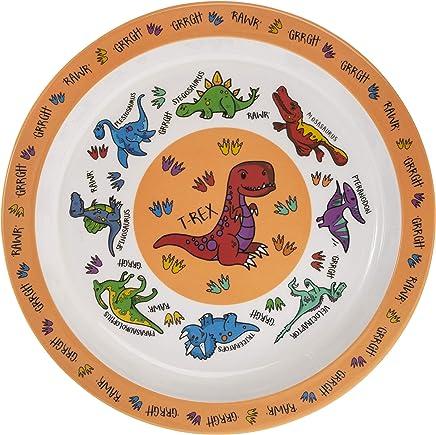 Preisvergleich für Orange Dinosaurier Melamin Kunststoff Kinder, die Abendessen Teller 21cm