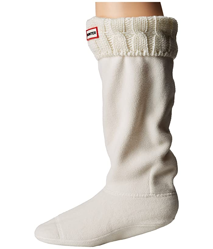 Hunter  6 Stitch Cable Boot Sock (Natural White) Womens Crew Cut Socks Shoes