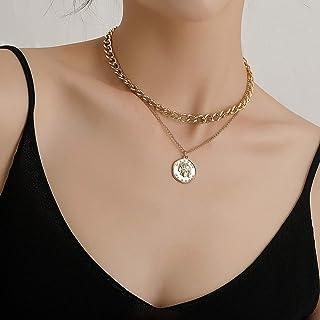 YERTTER Dainty Unique Punk Portrait Pendant Necklace Boho Jewelry Set Statement Chunky Necklace for Women Men (Gold)