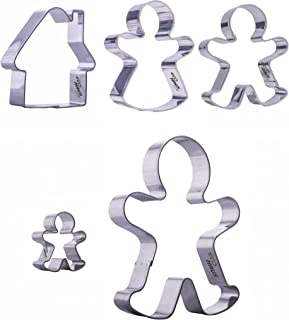 Cookie Cutters Gingerbread man Set - 5 pcs Stainless Steel Shape Biscuit House - Easy To Clean - Ideal For Fruits Fondant ...