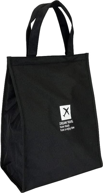 Ladies Cartoon Waterproof Lunch Bag Aluminum Foil Thermal Lunch Bag Zipper Hand Held Thermal Insulation Bag Black
