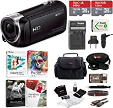 Sony HDR-CX405 1080p Full HD 60p Handycam Camcorder w/Two 32GB SD Cards & Li-ion Battery Bundle