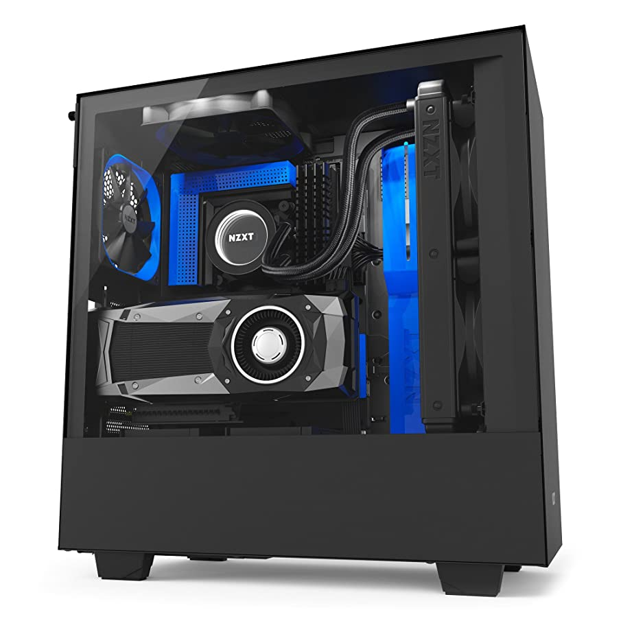 NZXT H500i Compact ATX PC Gaming Case - RGB LED & Smart Fan Control - Tempered Glass - Water-Cooling Ready - Black/Blue