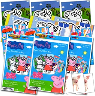 Peppa Pig Coloring Pop-Outz Party Favors with Stickers, Markers and Coloring Activity Boards ~ Plus Separately Licensed 3X3 Inch Reward Prize Stickers Included