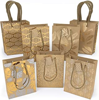 "ARTEZA Gift Bags 9.5""x7""x3.4"", Set of 15 with an Assortment of 5 Unique Metallic Foil Designs on Kraft Paper (3 of Each Design), for Christmas Gifts, Birthday Parties, Wedding Presents, and More!"