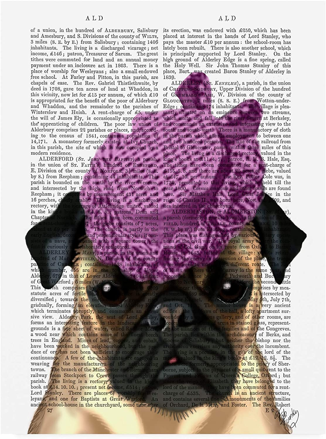 Trademark Fine Art Pug with Vintage Purple Hat by Fab Funky, 14x19