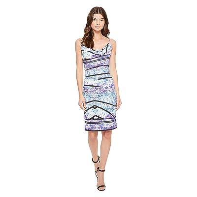 Nicole Miller Stamped Paisleys Carly Tuck Dress (Blue Multi) Women