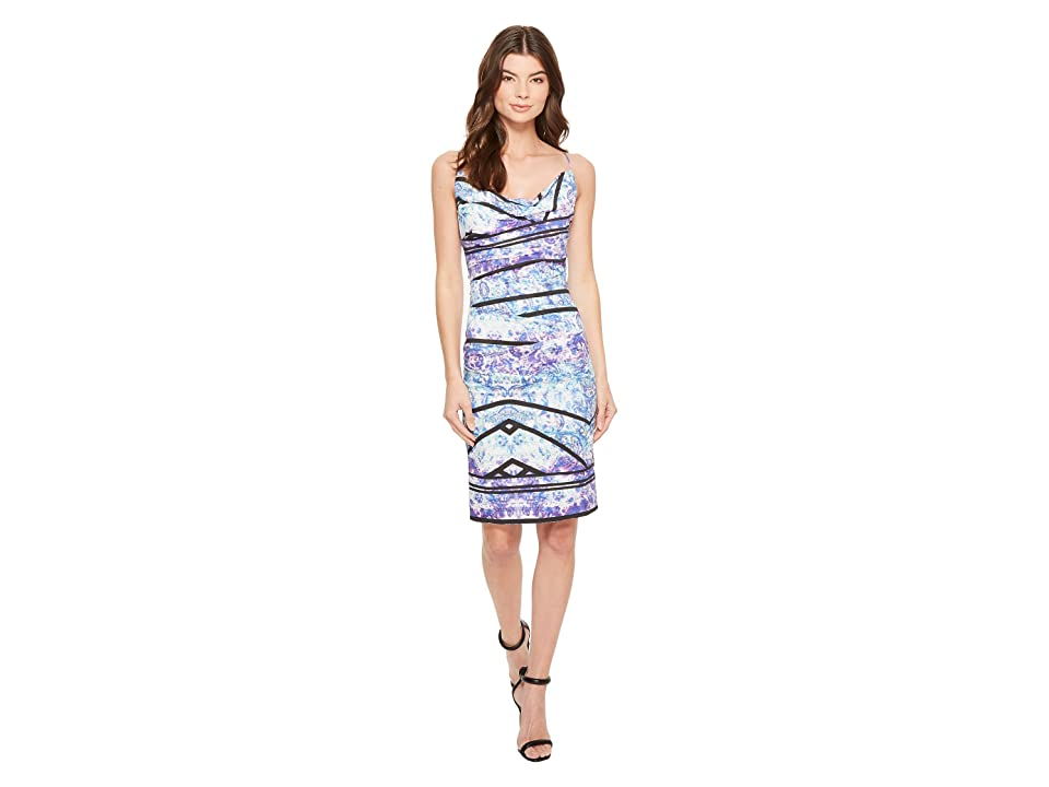 Nicole Miller Stamped Paisleys Carly Tuck Dress (Blue Multi) Women
