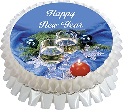 Happy New Year 7.5 inch Edible Square Cake Topper Rice wafer or Icing Sheet.165