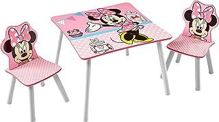 comprar comparacion Minnie Mouse Conjunto de Mesa y Dos sillas, Madera, Rosa, 63.00x63.00x45.00 cm