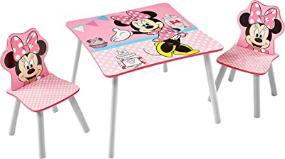 Disney Minnie Mouse Table et 2&nbspchaises pour Enfants, par HelloHome, Bois Dense, Rose, 63x63x45 cm & Minnie Mouse - Bibliothèque à pochettes pour enfants - Rangement de livres pour chambre d'enfant