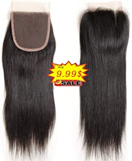 GLUNA 3 Part Brazilian Lace Closure Straight Bleached Knots with Baby Hair 100% Unprocessed Human Hair Lace Closure (Natural Color three part 8