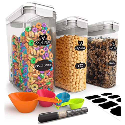 Chefs Path Cereal Storage Container Set - 100% Airtight Best Food Storage Containers, 8