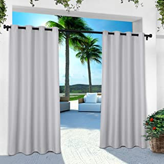 Exclusive Home Curtains Indoor/Outdoor Solid Cabana Grommet Top Curtain Panel Pair, 54x120, Cloud Grey