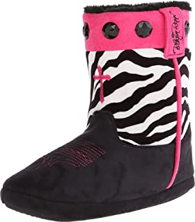 Blazin Roxx Women's Zebra Print Cowgirl Slipper Booties Black Large US