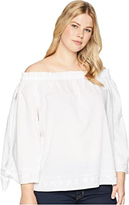 Plus Size Off Shoulder Blouse w/ Embroidery
