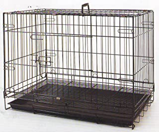 Mcage Foldable Breeder Puppy Kitten Rabbit Training Cage with 1/2 inch Bottom Wire Grid Mesh Floor Top and Side Opening Door