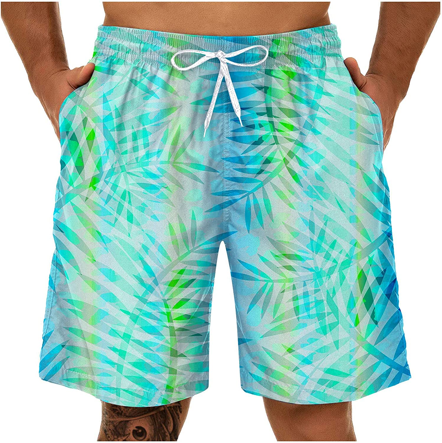 FUNEY Swim Shorts for Mens 3D Dinosaur Print Funny Swimwear Bathing Suits Swim Trunks Quick Dry Board Shorts with Pockets