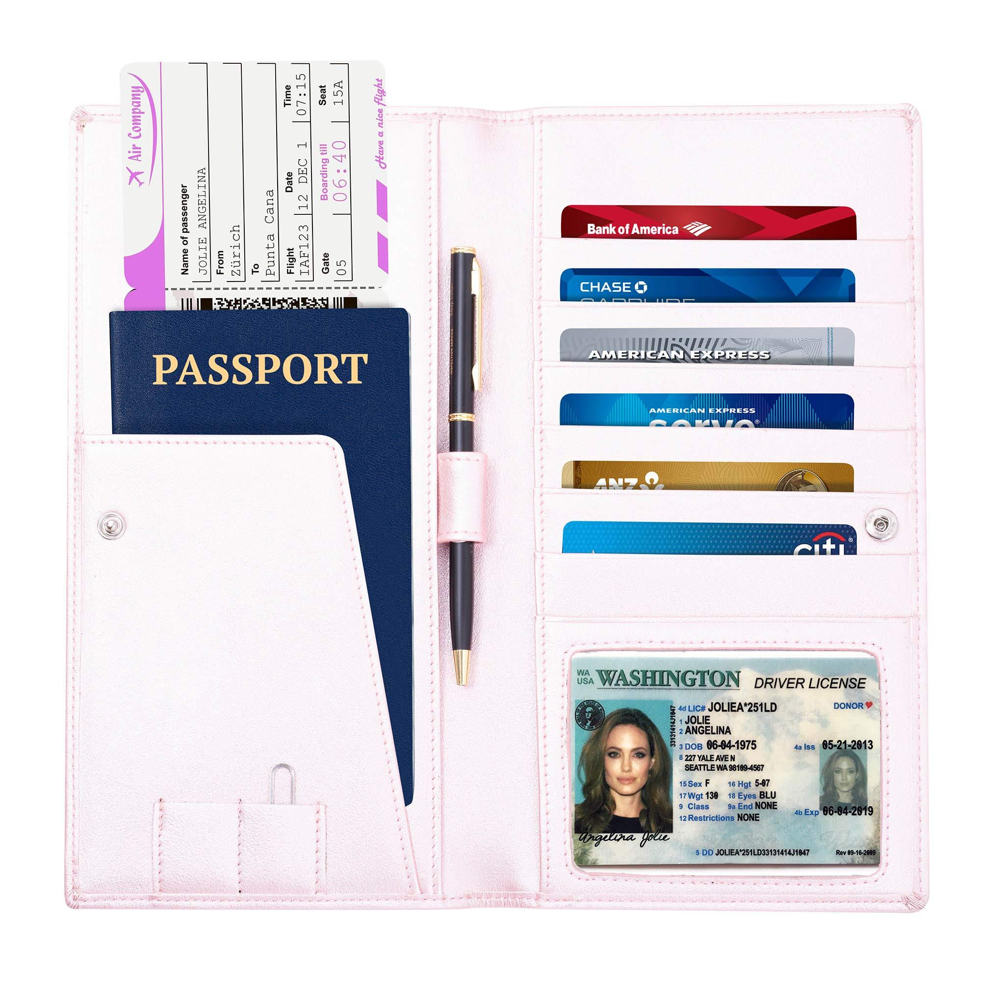 旅行钱包–护照夹–长款皮革钱包和旅行 DOCUMENT 记事本–钱包男式和女式–金钱 tickets 和显示卡记事本–RFID 旅行文件柜–IN A 礼盒