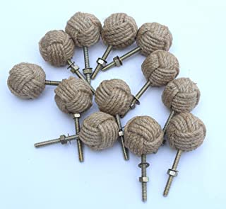 12 Knotty Door knobs - Nautical Drawer pulls - Jute Rope Drawer pulls S