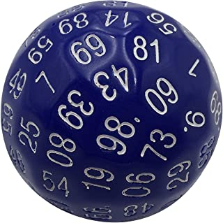 Skull Splitter Dice Single 100 Sided Polyhedral Dice (D100) | Solid Blue Color with White Numbering (45mm)