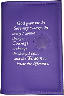 Culver Enterprises Narcotics Anonymous NA Basic Text (6th Ed) Book Cover Serenity Prayer & Medallion Holder Purple Orchid