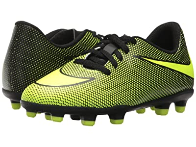 Nike Kids Jr Bravata II FG Soccer (Toddler/Little Kid/Big Kid) (Black/Volt) Kids Shoes