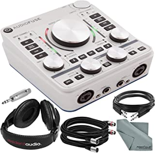 Arturia AudioFuse 14x14 Audio Interface (Silver) and Bundle w/Resident Audio R100 Stereo Headphones + Xpix Cables + Adapter + Fibertique