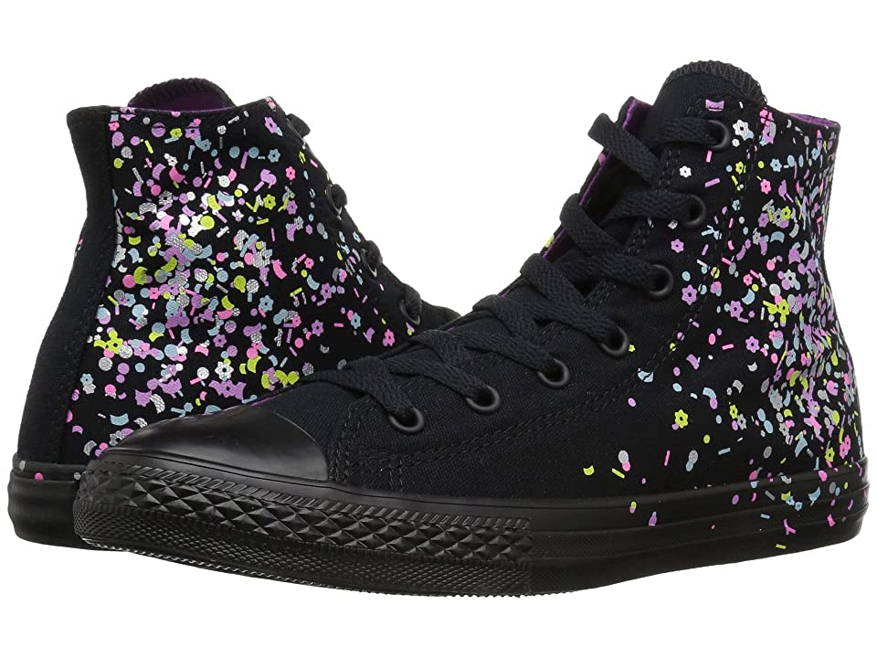 Converse Kids Chuck Taylor(r) All Star(r) Confetti Hi (Little Kid Big Kid)  (Black Multi Icon Violet) Girl s Shoes bd5b4d9c8