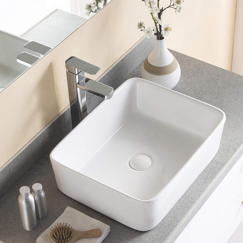 DeerValley DV-1V031 Ceramic Rectangular Bathroom White 超定番 Si Vessel 安売り