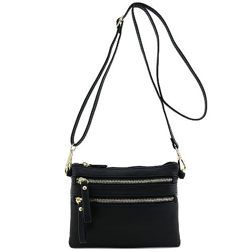 a12d16cafea1 Multi Zipper Pocket Small Wristlet Crossbody Bag