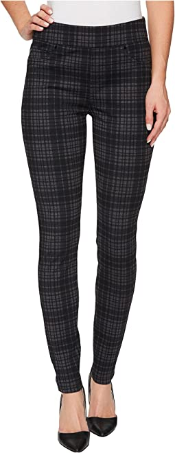 Sienna Pull-On Leggings in Heather Plaid Soft Ponte Knit in Grey