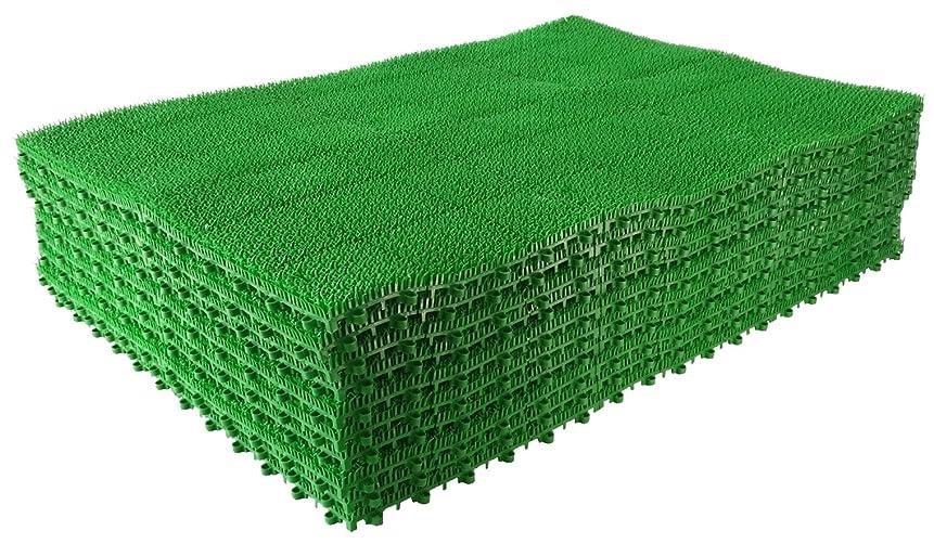 ループ拒絶する正当な山崎産業 日本製 ジョイント人工芝 若草ユニット E-V グリーン 60cm×90cm(30cm6枚組み) 10枚セット