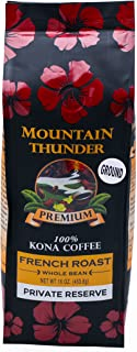100% Kona Coffee - Private Reserve - Ground - French Roast - 16 Ounce Bag - by Mountain Thunder Coffee Plantation