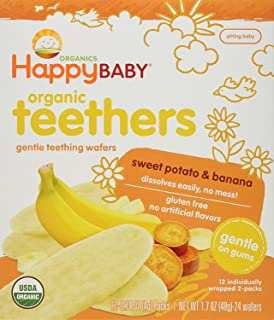 Happy Baby Gentle Teethers Organic Teething Wafers Banana Sweet Potato, 0.14 Ounce Packets (Box of 12) Soothing Rice Cooki...