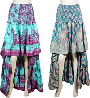 2pc Womens Hi Low Skirt Bohemian Gypsy Chic Silk Dancing Skirt Beautiful Flare Boho Style Skirts S/M Blue,Pink