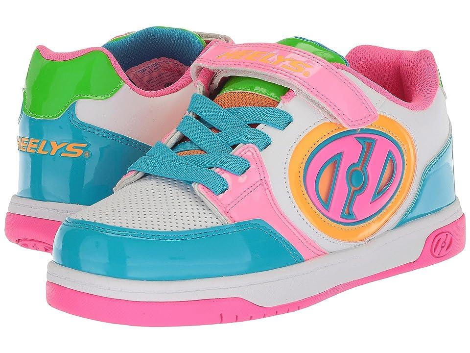 Heelys Plus X2 Lighted (Little Kid/Big Kid) (White/Neon Multi) Girls Shoes