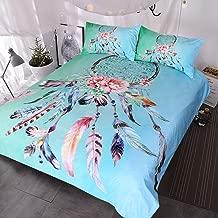 BlessLiving Big Dreamcatcher Colors Bedding, 3 Piece Dream Catcher Duvet Cover Set, Boho Doona Cover Hippie Bedspread Coverlet (King, Turquoise)