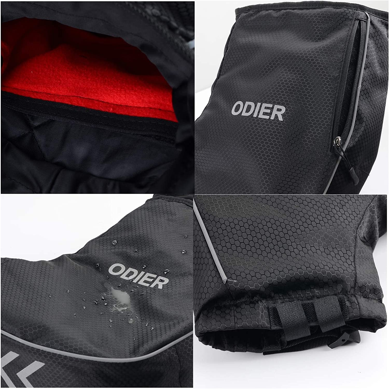 ODIER Bike Handlebar Mitts Fleece Liner Winter Fat Bike Mittens Extreme Cold Weather MTB Bicycle Commuter Bike Pogies Waterproof