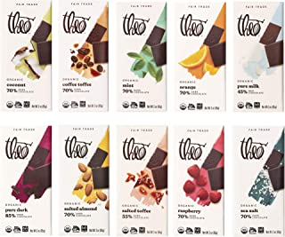 Theo Chocolate Organic Milk + Dark Chocolate Classic Sampler Variety 10 Pack, 3 Ounce Bars
