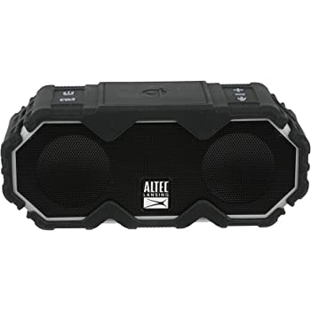 Altec Lansing Mini LifeJacket Jolt Bluetooth Speaker with Qi, Wireless, Waterproof, Portable, Speakers, Loud Volume, Strong Bass, Rich Stereo System, Microphone, 16 Hour Battery, 100 ft Range, Black