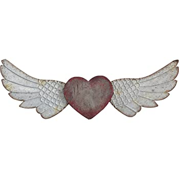 Ornamental Heart and Wings  Metal Wall Decor Fuschia Tainted