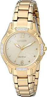 Citizen Women's 'Eco-Drive Diamond' Quartz and Stainless-Steel Dress Watch, Color:Gold-Toned (Model: EM0452-58P)