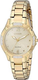 Citizen Women's 'Eco-Drive Diamond' Quartz and Stainless-Steel Dress Watch, Color:Gold-Toned (Model: EM0452-58P)
