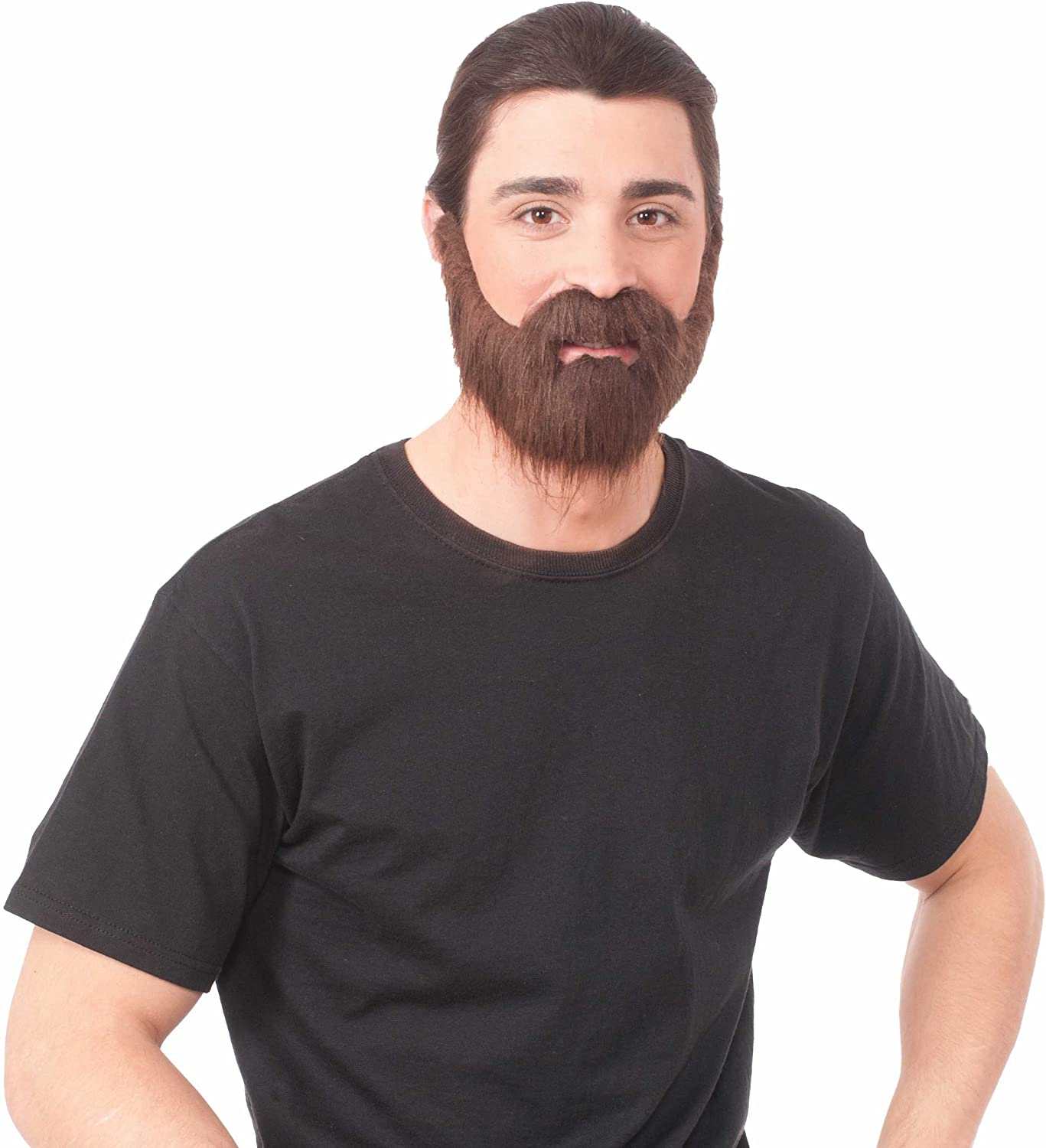 Amazon Com Forum Novelties 73600 Full Brown Beard With Moustache One Size Pack Of 1 Toys Games