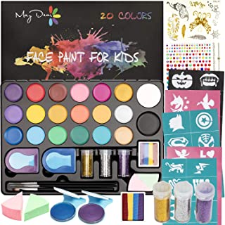 Maydear Face Paint Kit for Kids with 20 Colors Safe and Non-Toxic Pearl Paints, 41 Stencils, 3 Brushes Professional Face P...