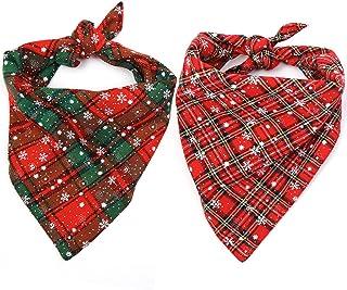 Malier 2 Pack Dog Bandana Christmas Buffalo Plaid Snowflake Pet Scarf Triangle Bibs Kerchief Set Pet