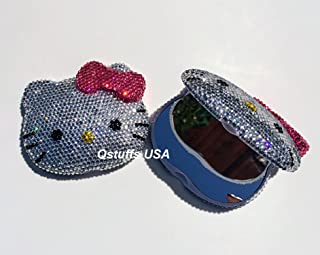 Bling Bling hello kitty compact mirror handmade with high quality crystals ^HOT PINK BOW